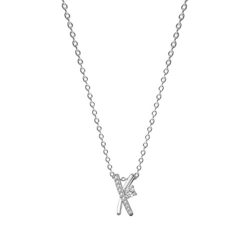 925 Silver Simple X-Type Diamond Necklace Female Korean Popular Clavicle Chain Silver Mla2033