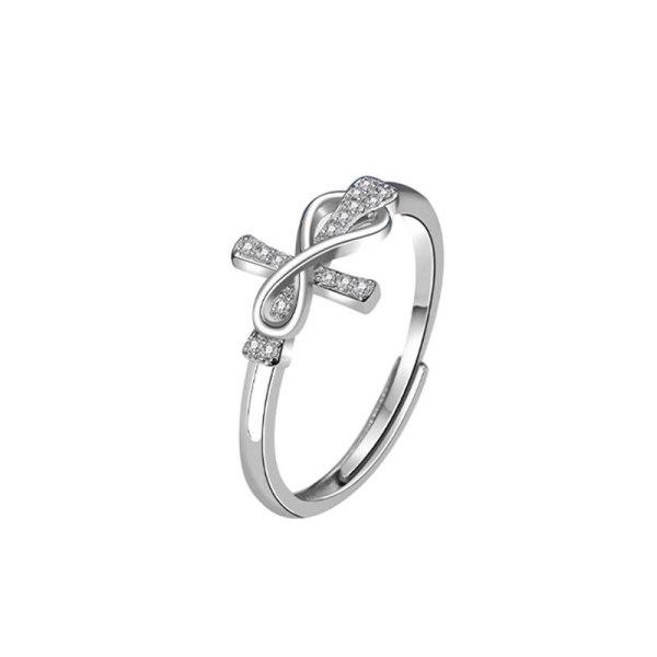 S925 Silver Creative Design Diamond Cross Ring Simple European and American Style Fashion Mlk871