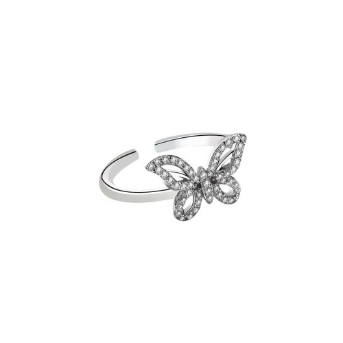 S925 Sterling Silver Creative Design with Full Diamond Butterfly Ring Female Korean Simple Wind Hand Jewelry Mlya0020