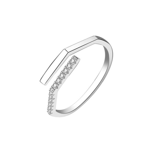 S925 Silver Simple Zircon Open Ring Female Japanese and Korean Popular Hand jewelry Mlk874