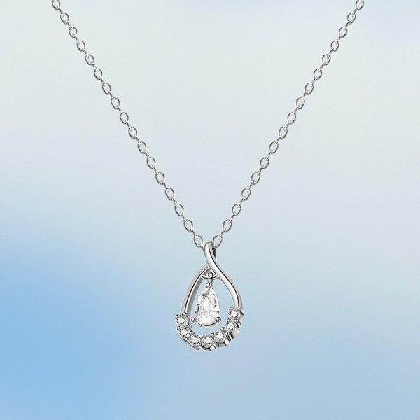 S925 Sterling Silver Creative Design Zircon Drop Necklace Japan and South Korea Simple Wind Necklace Silver Mla2009