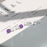 S925 Sterling Silver New Style Simple Lovely Zircon Earrings Japanese and Korean Popular Small Jewelry Silver Mle006