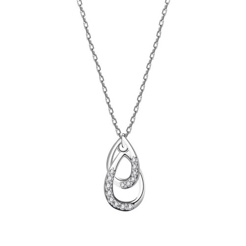 S925 Silver Double Coils Zircon Necklace Female Korean Popular Simple Wind Clavicle Chain Mla2007