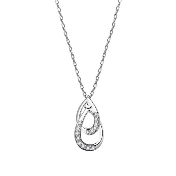 S925 Silver Double Coils Zircon Necklace Female Korean Popular Simple Wind Clavicle Chain Mla2007