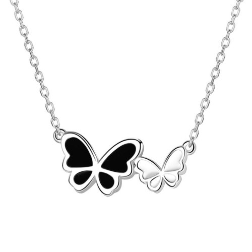 S925 Sterling Silver Creative Design Epoxy Butterfly Necklace Female Japanese and Korean Clavicle Chain Mla1193