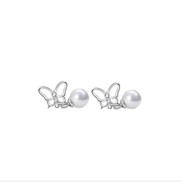 S925 Silver Simple Butterfly Cherish Stud Earrings Korean Popular Earrings  Silver Jewelry Mle2186