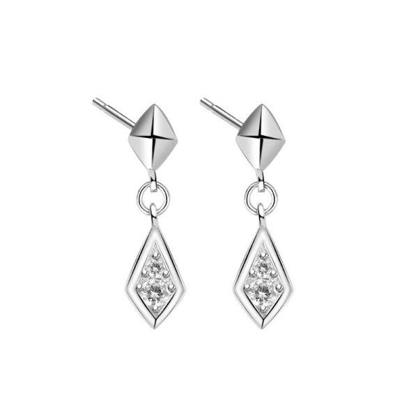 S925 Sterling Silver Simple Zircon Tassled Rhombus Stud Earrings Female Korean-Style Earrings Jewelry Mle2158