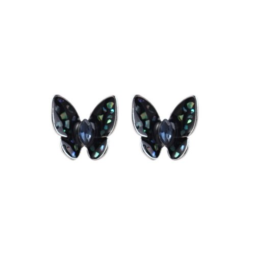 S925 Sterling Silver New Hipster Butterfly Stud Earrings Girl's Crystal Earrings Korean Cute Small Jewelry 138863