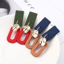 New Korean Fashion Scrub Stud Earrings Women's Versatile Rectangular Geometric Earrings S925 Silver Needle Jewelry 139562