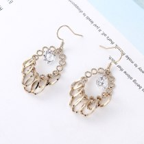 European and American Exaggerated Cool Ring Stud Earrings Female Circle Hollow Zircon Earrings 138908