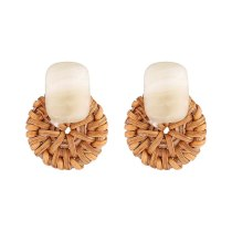 European Fashion Creative Cool Acrylic Earrings Women Resin Woven Round Palte Stud Earrings S925 Silver Needle Jewelry 140579