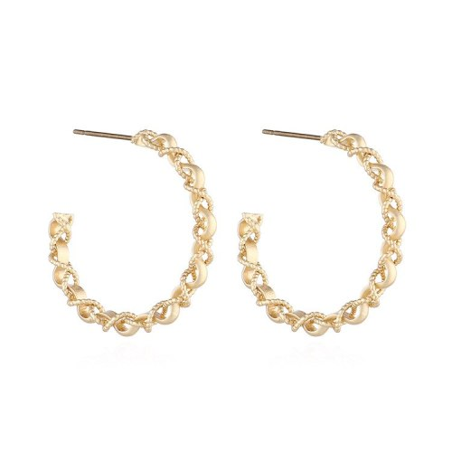 European Fashion Retro Simple Linen Flower Color Cross C-Shaped Earrings Female 925 Silver Needle Stud Earrings Jewelry 140159