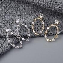 Korean-Style Elegant Pearl Earrings Women's Fashion All-match Ring Zircon Ear Stud Earrings 138876