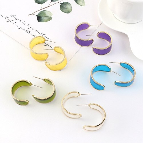 2020 New 925 Silver Pin Simple Fashion Cool Moon C Letter Earrings Female Hipster All-match Accessories B-4469
