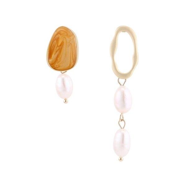 European Natural Pearl Earrings Asymmetric Long Earrings Women S925 Silver Needle Fashion Small Jewelry Wholesale 140015