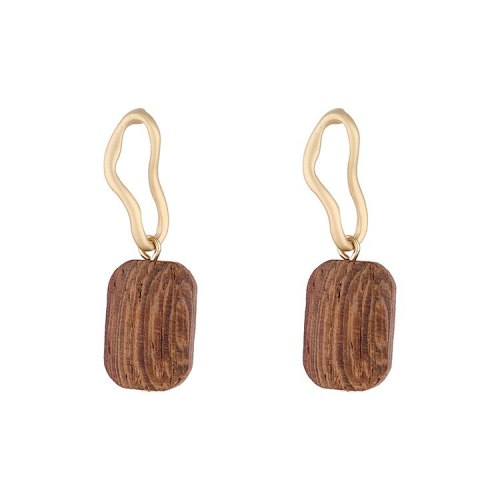 New European and American Retro Wood Earrings  Women's Simple Cool All-match Earrings S925 Silver Pin Jewelry B-4519