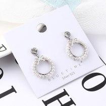 New Korean Style Simple Cute Bow Pearl Earrings Female Hipster Zircon Stud Earrings S925 Sterling Silver Pin 138933