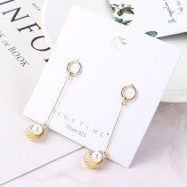 Korean-Style Creative Shell Pearl Earrings Female Fashion Cool Long Tassel Stud Earrings S925 Silver Pin Small Jewelry 138897