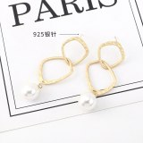 2020 New European and American Vintage Pearl Earrings Women's Cool Simple Geometric Stud EarringsS925 Silver Needle B-4428