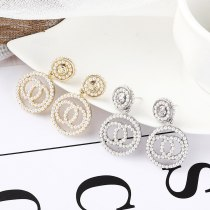 New Korean-Style Creative Pearl Earrings Female 925 Silver Needle Double C Stud Earrings Cool Earrings Pendant 138721