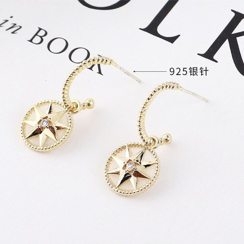 Korean Style Creative Lucky Compass French Earrings Female Electronic Heater S925 Silver Needle Stud Earrings Wholesale 138730