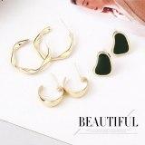 Fashion Earrings Women's Versatile Hipster 925 Silver Pin Stud Earrings Geometric C- Shaped Earrings 138705