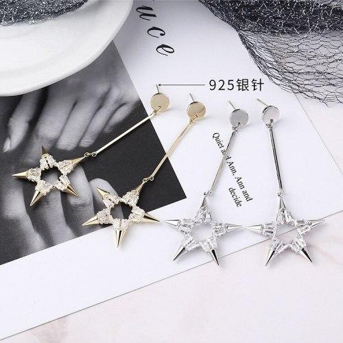 Creative Five-Pointed Star Earrings Women's Long Tassel Earrings Zircon Anti-Allergy Sterling Silver Needle Earrings 138917