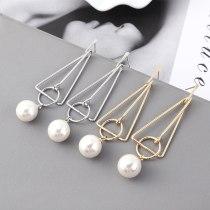 Silver Needle Stud Earrings Female European and American Creative Simple Pearl Earrings Triangle Geometric Earrings 139582