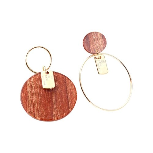New Korean-Style Simple Hipster round Plate Acrylic Earrings Female Fashion Asymmetric Ear Rings Anti-Allergy 139923