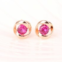Ruby Inlaid Classic Stud Earrings Plated 18K Gold All-match Earrings Jewelry Qxwe630