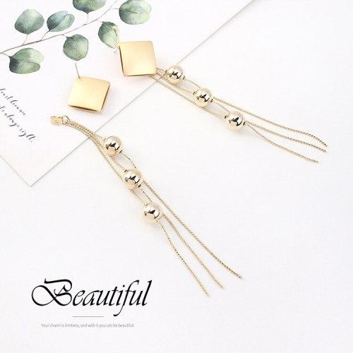 New European Style Long Tassel Earrings Ladies Elegant Fashion Ball Ear Pendant S925 Silver Needle B-4509