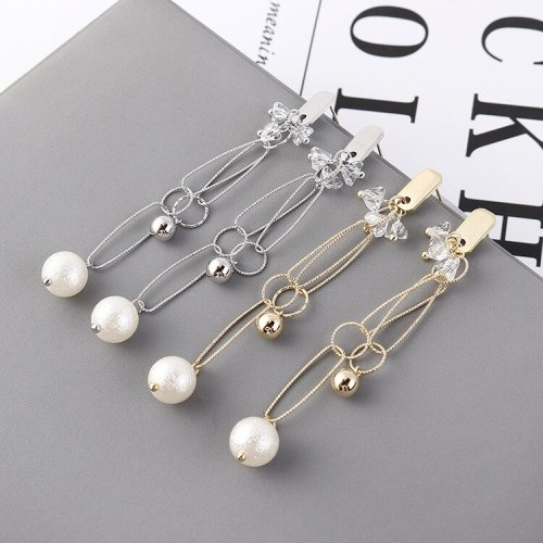 Korean Fashion Hipster Pearl Earrings Women's Ring Long Geometric Stud Earrings Anti-Allergy Small Jewelry Wholesale 139863