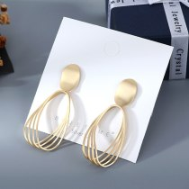 Earrings Wholesale European Simple All-match Matte Gold Earrings Women's Hollow Cool S925 Silver Pin Small jewelry B-4853