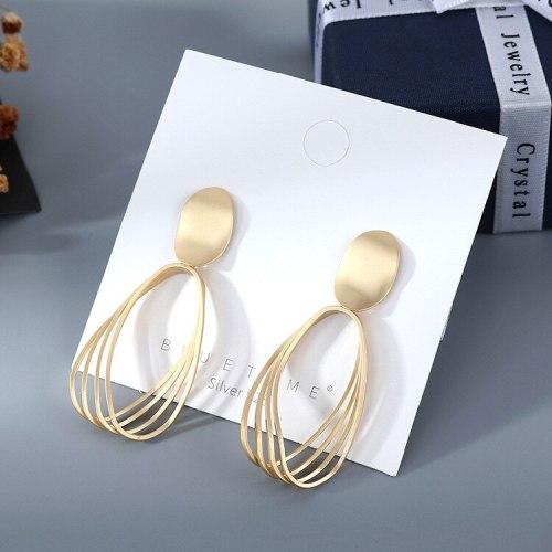 Earrings Wholesale European Simple All-match Matte Gold Earrings Women's Hollow Cool S925 Silver Pin Small jewelry B-4853