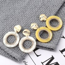 European All-match Fashion Cool Circle Yellow Acrylic Earrings Printed Letters Irregular Stud Earrings Female 139867