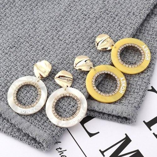 European All-match Fashion Cool Circle Yellow Acrylic Earrings Printed Letters Irregular Stud Earrings Female 139867
