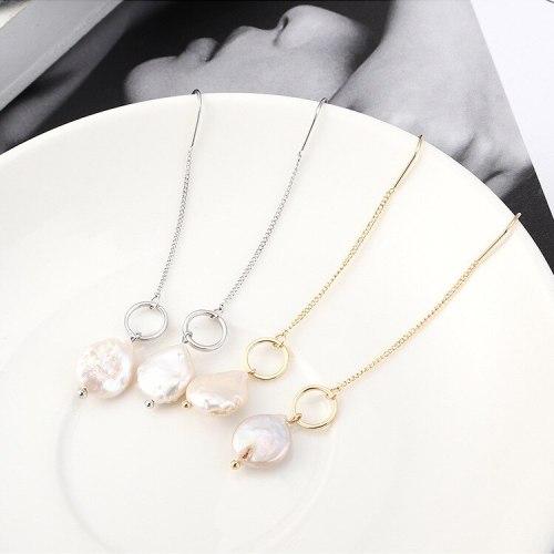 European Famous New Fashion Temperament Long Tassel Stud Earrings Pearl Earrings Girl's Heart All-match Small Jewelry 139555