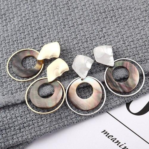 New European and American Fashion Elegant Circle Acrylic Earrings Women's Irregular Geometric Hollow Stud Earrings 139869