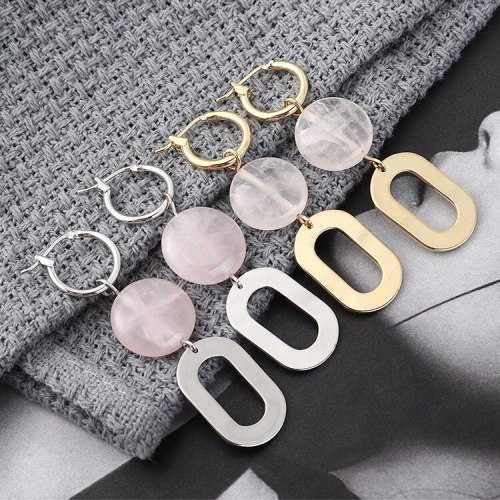 S925 Sterling Silver New Korean Fashion Pink Crystal Earrings Women's Simple All-match Circle Geometric Earrings 139879