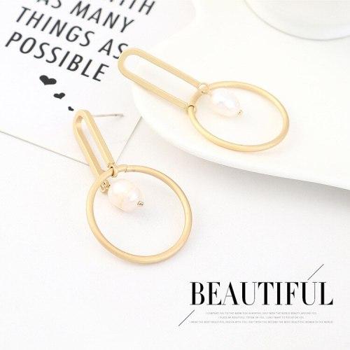 European and American Simple Creative Pearl Earrings Female All-match Geometric Circle Ear Rings S925 Silver Needle B-4430