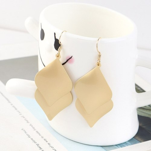 European Double-Layer Lotus Leaf Earrings Women's Creative Fashion Earrings Exaggerated All-match Accessories B-4513
