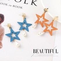 S925 Silver Stud Earrings  European Fashion Pearl Earrings All-match Scrub Five-Pointed Star Earrings Female Jewelry 139874