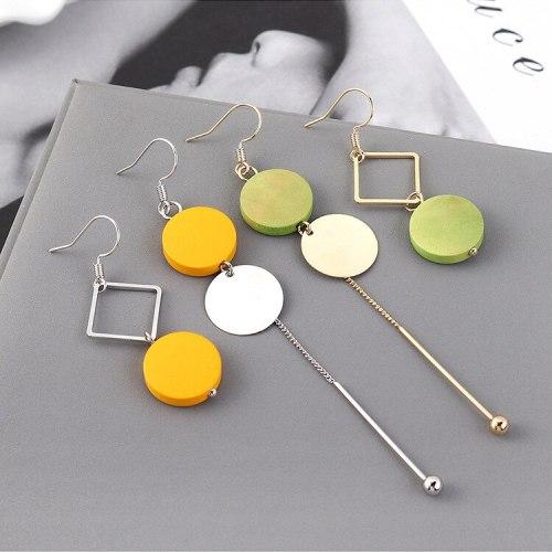 Korean-Style Wooden Asymmetric Earrings Women's Creative Fashion Temperament Long Stud Earrings  Wholesale 139574