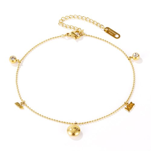 Japanese and Korean Jewelry New Simple Personality Letter Round Plate Diamond-Set Women's Anklet Gb107