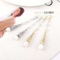 S925 Silver Pin Earrings European Retro Fashion Simple Pearl Earrings Women's Long Tassel Earrings 140324
