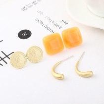 S925 Sterling Silver Needle European Elegant Simple and Versatile Acrylic Earrings Portrait Seal Square Earrings 140118