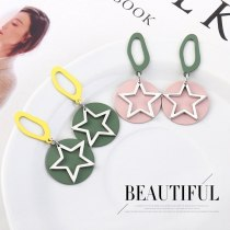 Korean Hipster All-match Matte Earrings Five-Pointed Star Round Plate Geometric Contrasting Color Stitching Earrings 139592