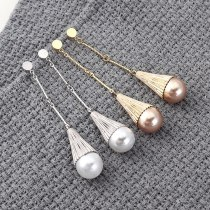 European Exaggerated Cool Pearl Earrings Fashion Cylinder Long Earrings Female Sterling Silver Needle Jewelry 139893