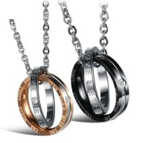 Ornament Wholesale Fashion Circle Pendant Titanium Steel Couple Necklace with Chain Lovers' Necklace Gift Gb831