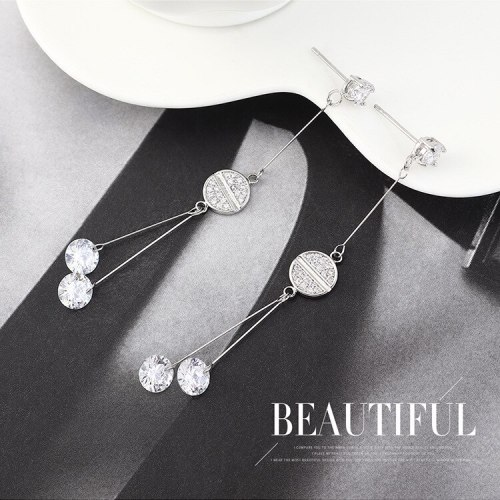 New Korean-Style Elegant Tassel Earrings Women's Fashion All-match Zircon Earrings S925 Silver Needle jewelry B-4419